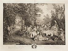 Jacques-Philippe Le Bas (1707-1783) Le Repas italien. Gravé d'après Lancret. 628 x 468. Portalis et Beraldi 9-2. Très belle épreuve...