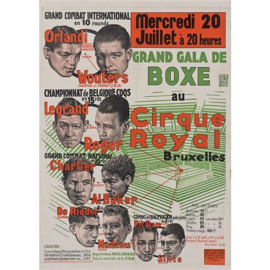 grand gala de boxe au cirque royal bruxelles 1938affiche des