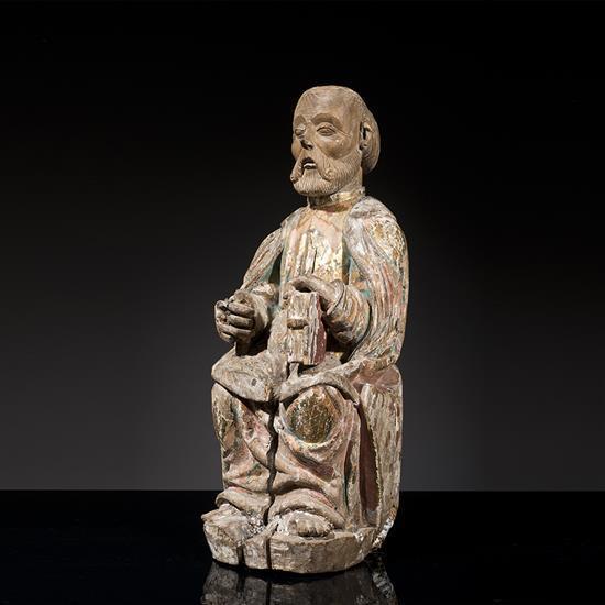 Saint pierre en ch taignier sculpt avec restes de polyc - Taille d un chataignier ...