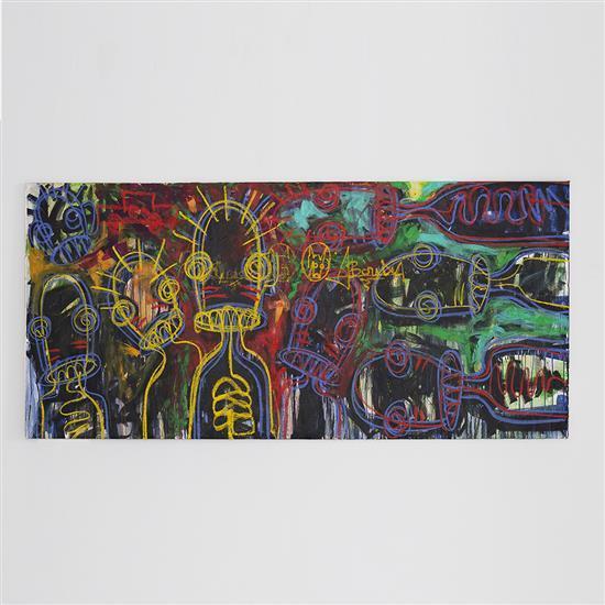 Aboudia (né en 1983) Colorful Children, 2014 Technique mixte sur toile 112 x 238 cm