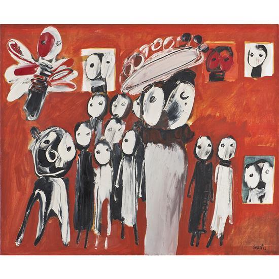 Yannis GAÏTIS (1923- 1984) Réunion de personnages, 1966