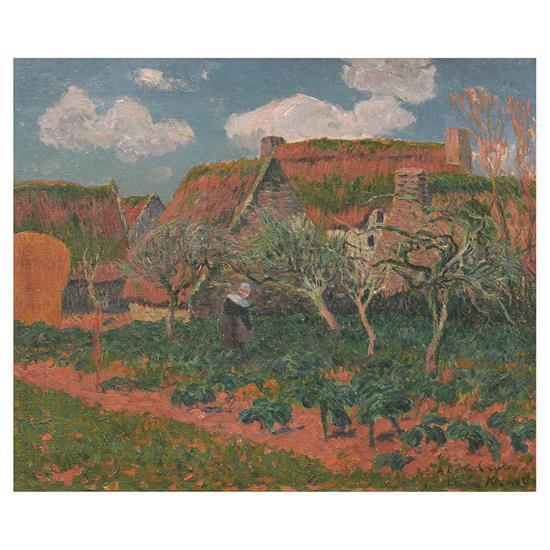 Henry Moret (1856-1913)Bretonne jardinant près des chaumières