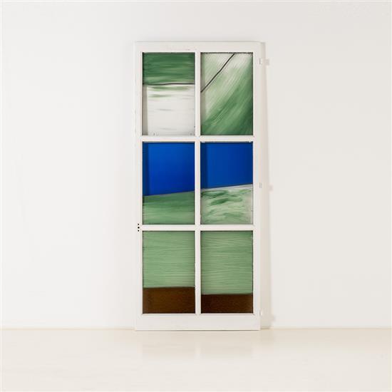 Pierre Buraglio (né en 1939) Fenêtre, 1990 Porte-fenêtre, verre peint Signé, daté et numéroté 5/5 en bas à droite 192,5 x 83...
