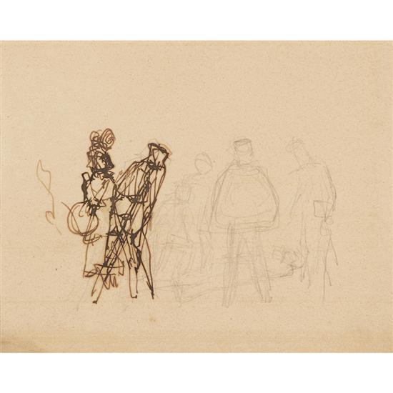 Balthazar Klossowski dit Balthus (1908-2001) L''Hiver (étude) Encre et mine de plomb sur papier Signé en bas à droite 16,5 x...