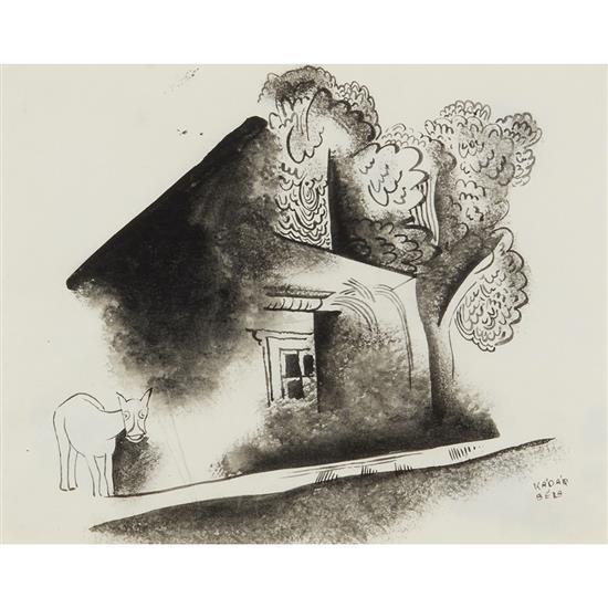 Bela Kadar (1877-1956)L''âne et la maison