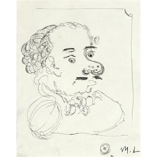 Mikhail Larionov (1881-1964)Portrait de l''artiste à la moustache et au jabot