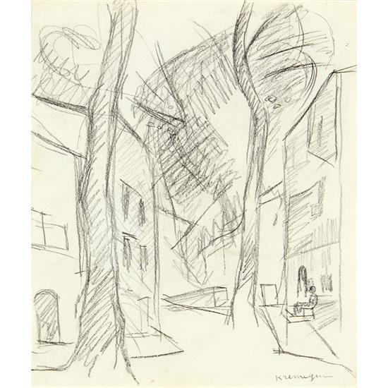 Pinchus Kremegne (1890-1981)Les grands arbres dans la rue
