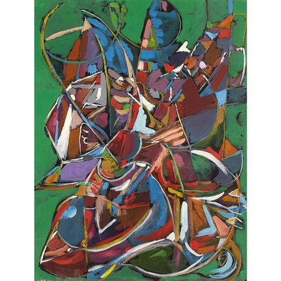André Lanskoy (1902-1976) Composition à fond vert Gouache sur papier Signée en bas à gauche 63,3 x 48,8 cm Provenance : co...