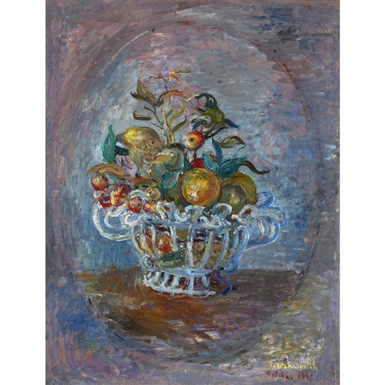 Kostia Terechkovitch (1902-1978) Corbeille de fruits (Nature morte à Antibes), 1947 Huile sur toile Signée et datée en bas à d...