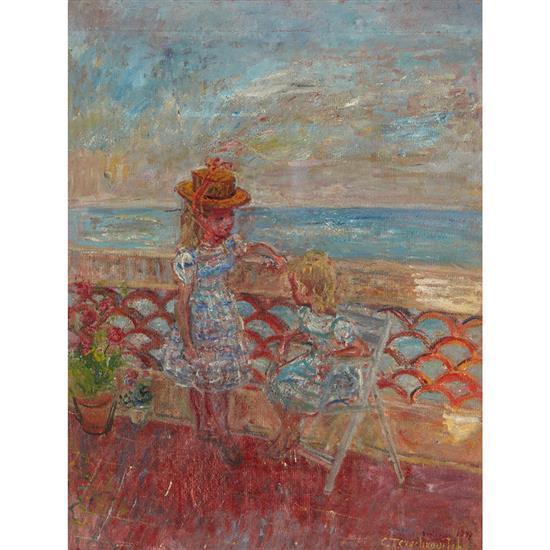 Kostia Terechkovitch (1902-1978) Les petites filles modèles (France et Nathalie sur la terrasse d''Antibes), 1947 Huile sur toile...