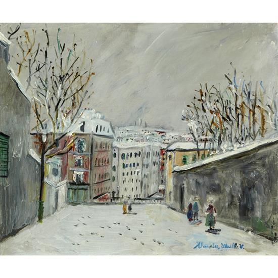ƒ Maurice Utrillo (1883-1955) Montmartre, Rue du Mont-Cenis sous la neige, circa 1954 Huile sur toile Signée en bas à droite 46 x 55...