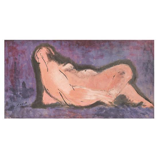 Marino Marini (1924-1997) Femme nue allongée, 1953 Gouache sur papier Signée et datée en bas à gauche 51 x 99 cm Provenanc...