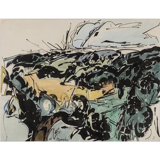 Alkis PIERRAKOS (né en 1920) Paysage, 1966