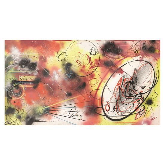 ƒ FUTURA 2000 (né en 1955) Sans titre, 1983 Peinture aérosol et acrylique sur toile Signée, datée et titrée