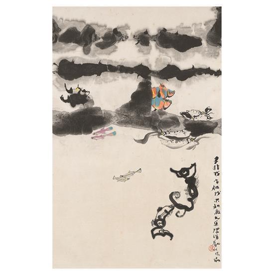 Tan Swie Hian (né en 1943) Les poissons par pairs, 1979 Encre sur papier Signé Tan Swie Hian suivi du cachet Hian Inscription :