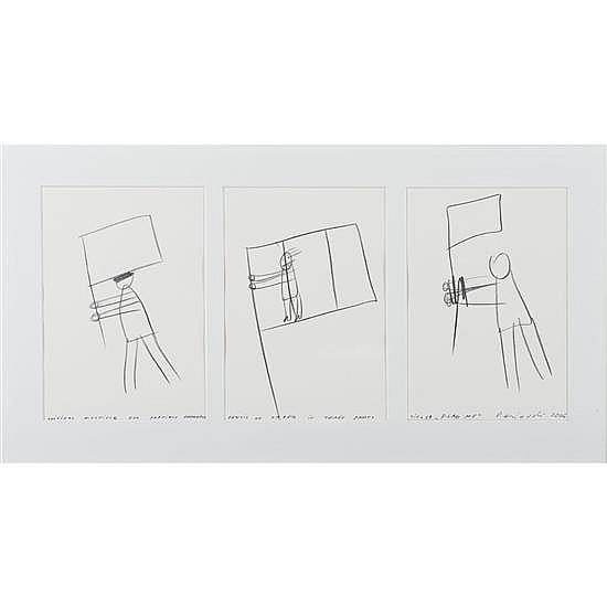 Dan PERJOVSCHI (né en 1961, vit et travaille à Bucarest) Flag Me, 2006 Triptyque Crayon sur papier Porte la mention