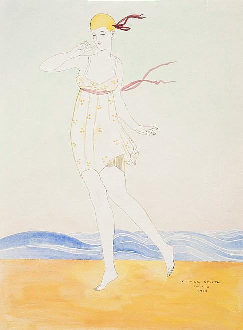 Ismaël Smith Marí (catalan, 1886-1972) [Danseuse au bord de la mer]. 1913. Aquarelle sur mise en place à la plume et à l'encre de ch...