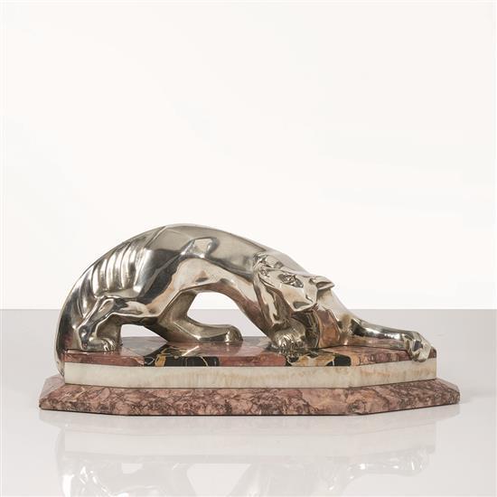 Georges Lavrof (1895-1991), attribué à « Fox » Sculpture Bronze à patine argentée et marbre Signée « Lavrof » Date de créa...