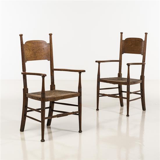 E.G. Punnett & William Birch (XIX-XXe)Paire de fauteuils