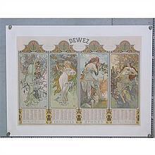 Alfons Maria Mucha (1860-1939)Variante unique des calendriers des saisons