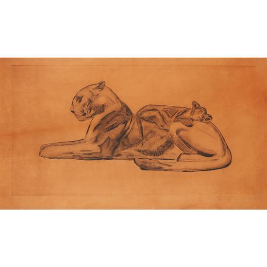 Paul Jouve (1878-1973)« Lionne et son lionceau »