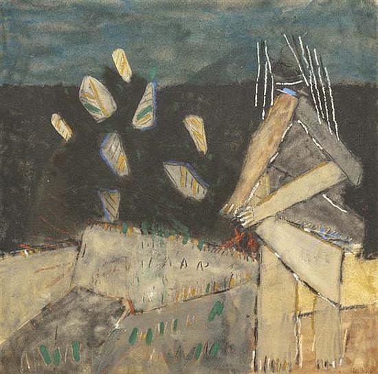 B. Jean LOUTTRE (né en 1926) Les vêpres siciliennes, 1988 Huile et sable sur toile signée et datée en bas à droite, titrée et datée au
