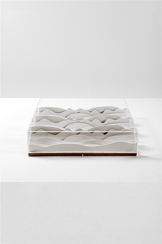 Michel Deverne (1927-2012) Relief Carton Réflexion autour du projet de faux plafond Estampillé Date de création : 1973 L...