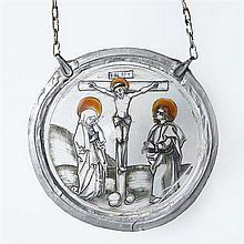 Petit rondel, «cul de bouteille», représentantla Crucifiion entre la Vierge et saint Jean en