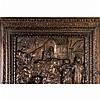 Porte en noyer sculpté à deux panneauxhistoriés en façade représentant deux scènes de
