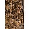 Très important panneau de retable en noyersculpté en fort relief avec restes de polychromie