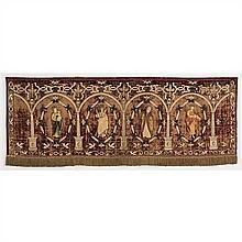 Antependium en velours rouge avec décorappliqué et brodé en fis d'argent et de soie.