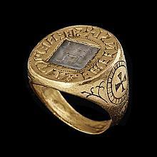 Rare anneau sigillaire en or niellé et gravé avec intaille en cristal de roche de Benoît, abbé de l'abbaye bénédictine de Farfa (Lat...