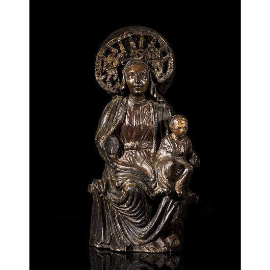 Vierge à l'Enfant assise en noyer sculpté en ronde-bosse et polychromé