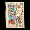 Feuillet d'un psautier sur vélin orné de quatreminiatures polychromes avec rehauts d'or ; texte