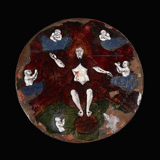 Médaillon en émail peint polychromereprésentant le Christ du Jugement dernier. Le