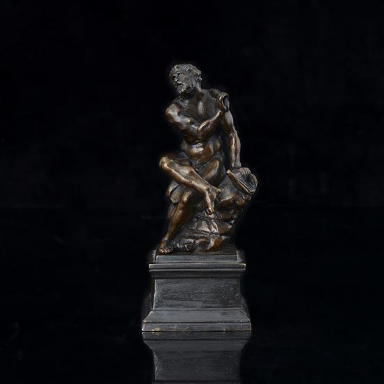 Hercule au repos (?) en bronze à patine brune