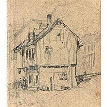 Louis Adolphe Hervier (Paris 1818-1879)Personnages devant une chaumièreCrayon noir16,5 × 14,5 cm(Pliures et quelques rousseurs)Ancie...