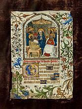 Feuillet de livre d'heures enluminé sur parchemin représentant la Pentecôte sous une arcature en accolade