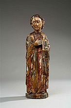 Saint Jean en bois de résineux sculpté en rondebosse, polychromé et doré
