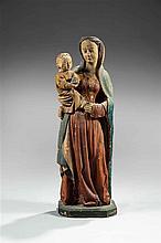 Vierge à l'Enfant en bois sculpté en ronde-bosse et polychromé
