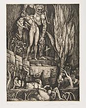 Ernst FUCHS (autrichien, né en 1930) [La Mort s'en prenant à une femme nue] Pl. de la suite