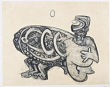 Roberto MATTA (chilien, 1911-2002) [Figure à l'aeuf]