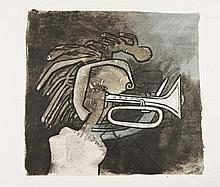 Roberto MATTA (chilien, 1911-2002) [Figure à la trompette]