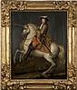 École FRANÇAISE du XVIIe siècle, atelier de René Antoine HOUASSE Louis XIV, roi de France et de Navarre, à cheval Toile 97 x 79,5 cm...