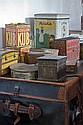 Dix-huit boîtes publicitaires en tôle peinte : Palmer, bouillon Cube, Lefèvre Utile, Chocolat Meunier etc.