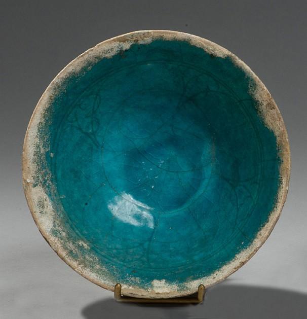Coupe turquoise  Céramique siliceuse recouverte d'une glaçure turquoise