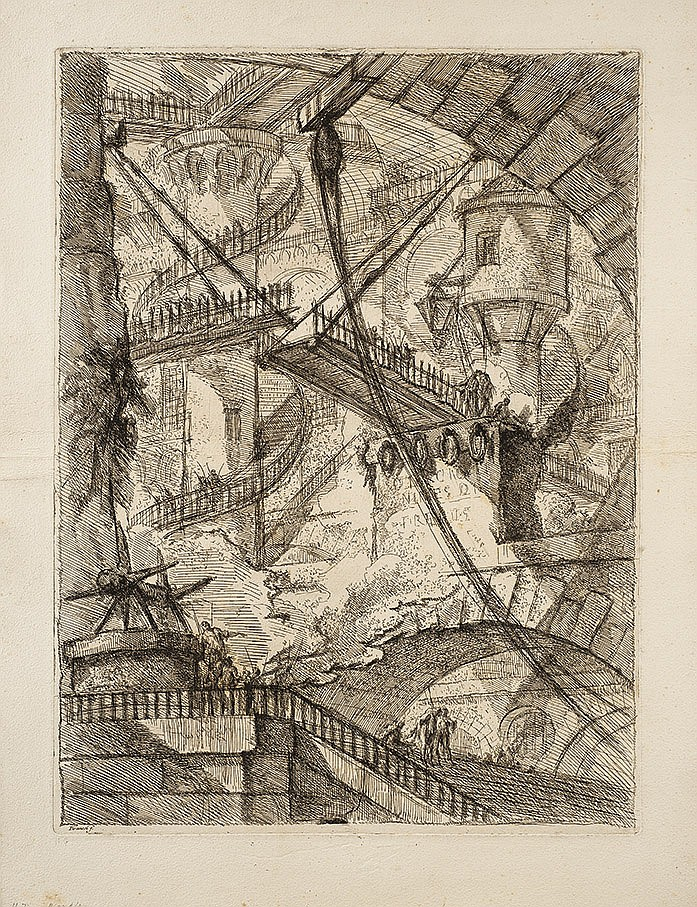 Giambattista Piranesi (1720-1778) Le Pont-Levis. Carceri, pl. 7. 1749. Eau-forte. 406 x 546. Hind 7 ; Robison 33. Superbe et rare ép...