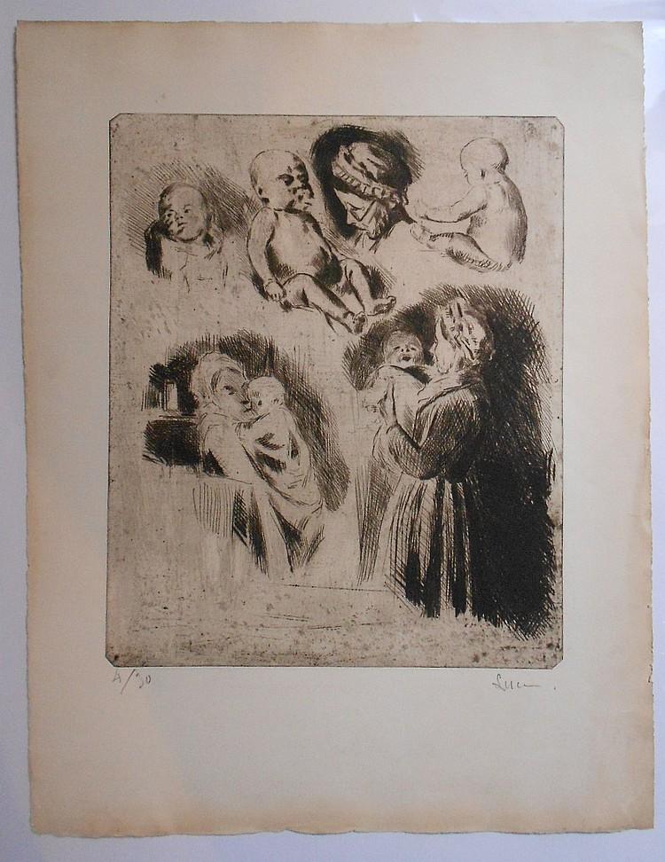 Maximilien Luce (1858-1941) Études de la tante Octavie et d'un bébé (grande pl.) 1895. Vers 1895. Pointe sèche. 310 x 380. Belle épr..