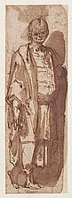 Attribué à Raffaellino da REGGIO (Codemondo 1550–Rome 1578) Etude de personnage en pied Plume et encre brune sur traits de sanguine,...