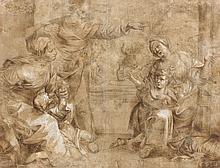 École italienne du XVIIe siècle Abraham chassant Agar et son fils Plume et encre brune, lavis brun, sur trait de crayon noir et reha...